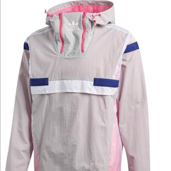 adidas Originals Br8 Windbreaker Anorak Jacket Grey Pink White Reflective Men XL
